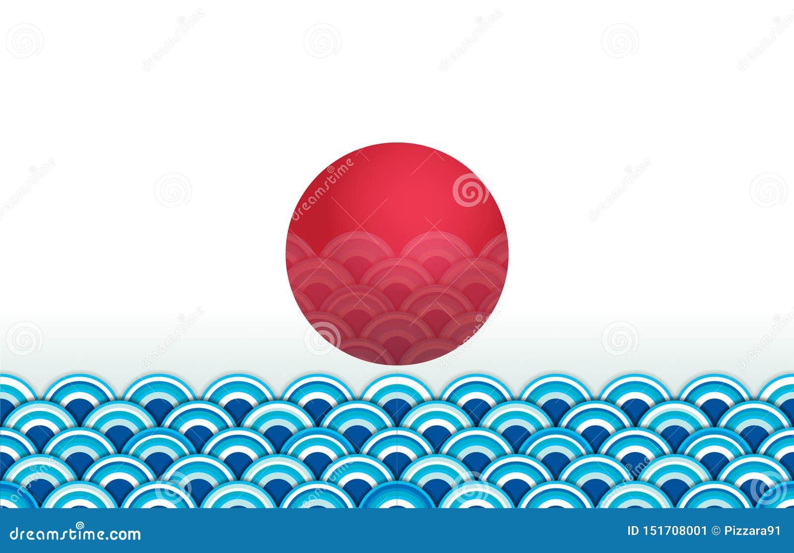 Papier peint sans couture de vague japonaise avec le soleil rouge