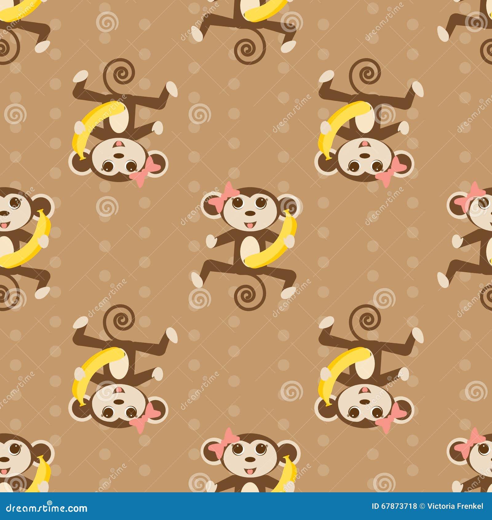papier peint sans couture de vecteur avec le singe illustration de vecteur image 67873718. Black Bedroom Furniture Sets. Home Design Ideas