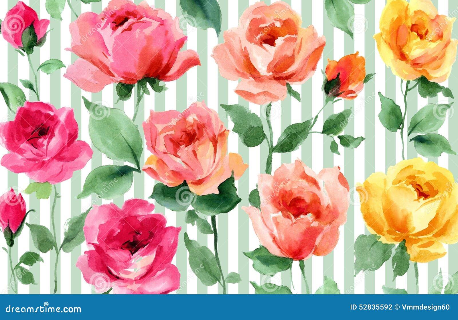 papier peint sans couture floral de jardin d 39 aquarelle color e anglaise de roses illustration. Black Bedroom Furniture Sets. Home Design Ideas