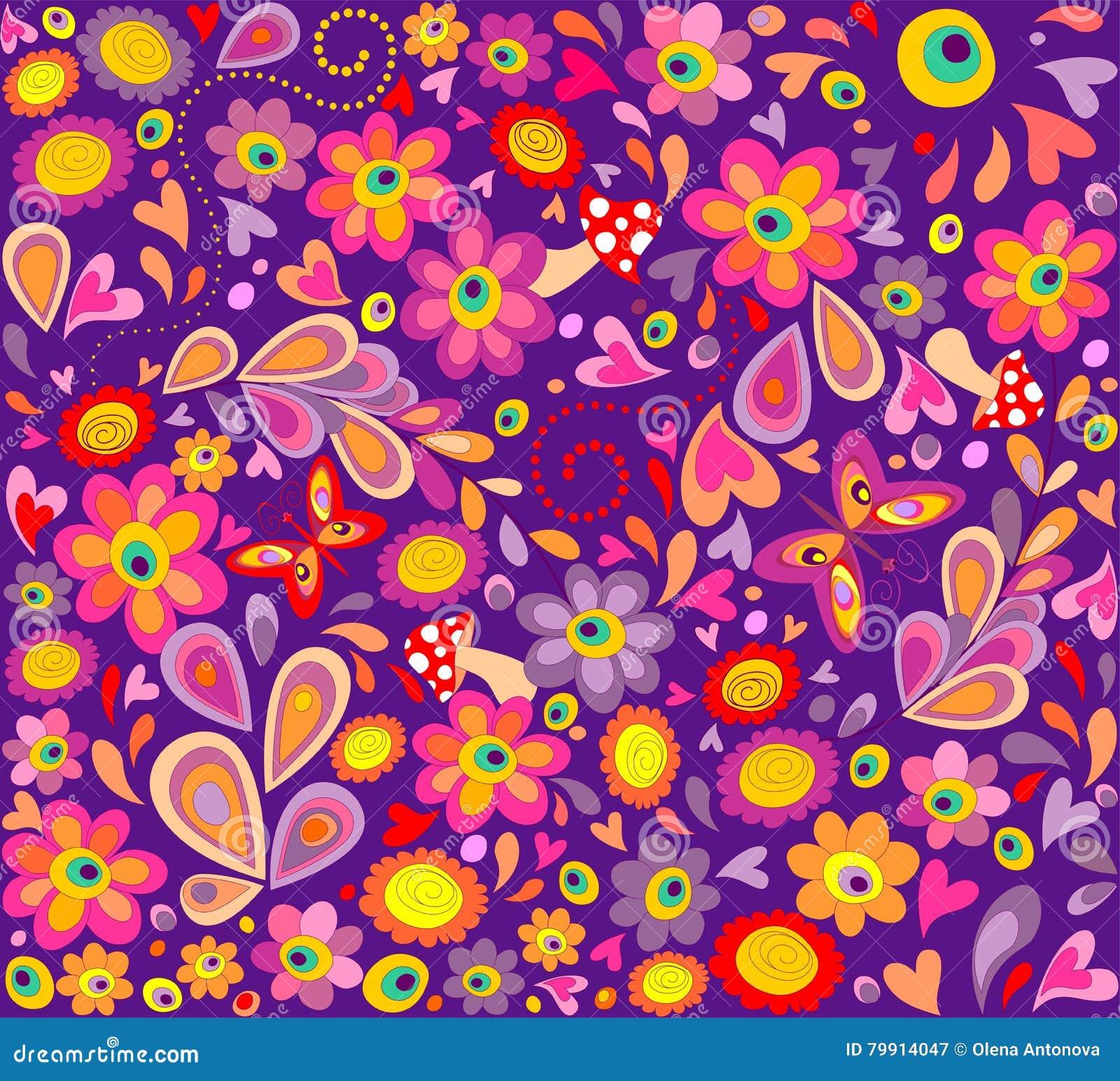 papier peint violet hippie avec les papillons dr les les. Black Bedroom Furniture Sets. Home Design Ideas