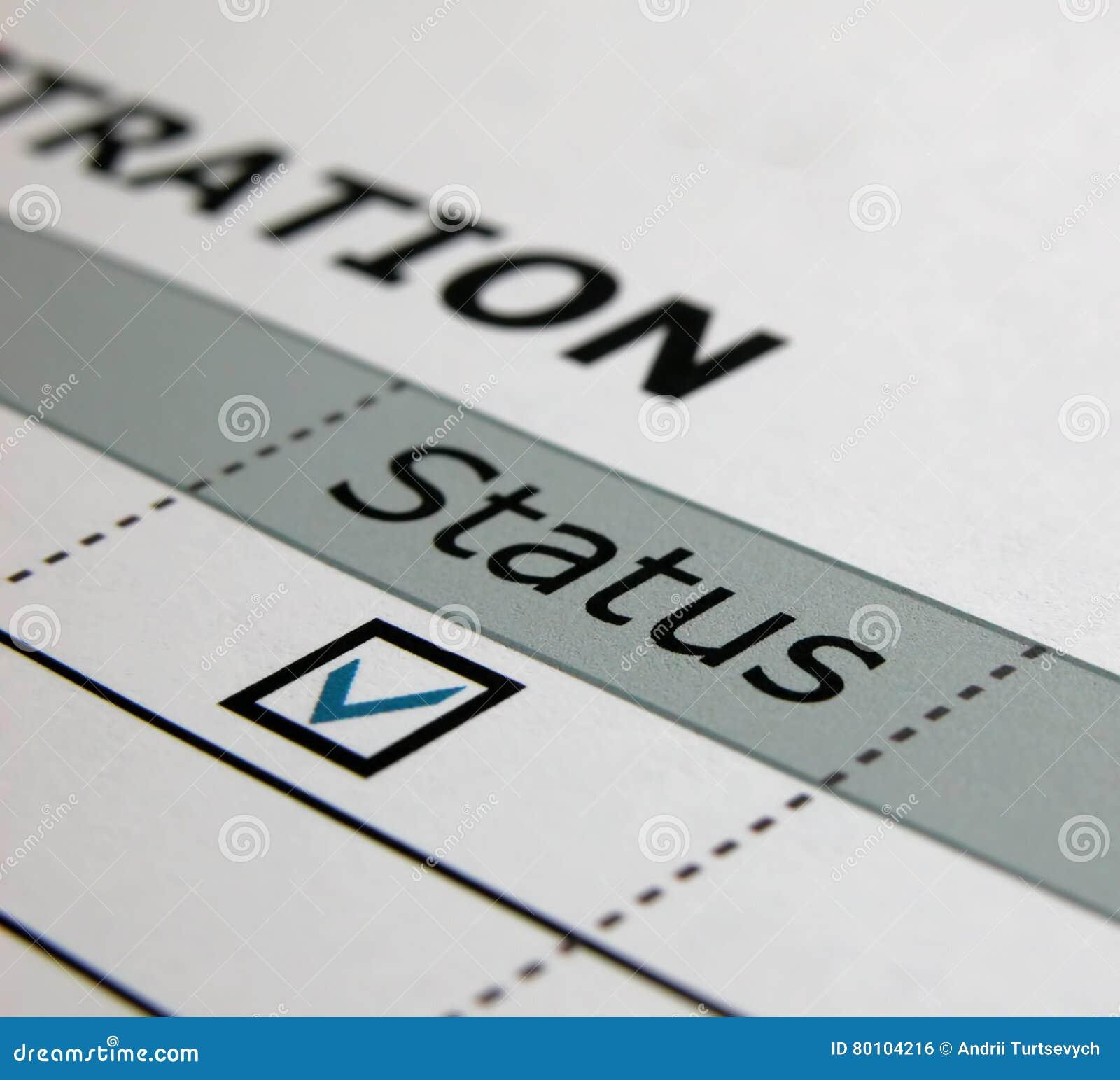 Papier, statut, enregistrement
