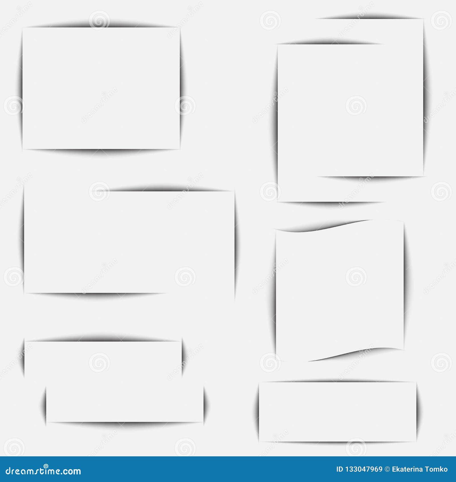 Papierblattschatteneffekt Transparente realistische Schatten des Vektors stellten für die Werbung von Fahnenschablonen ein Vektor