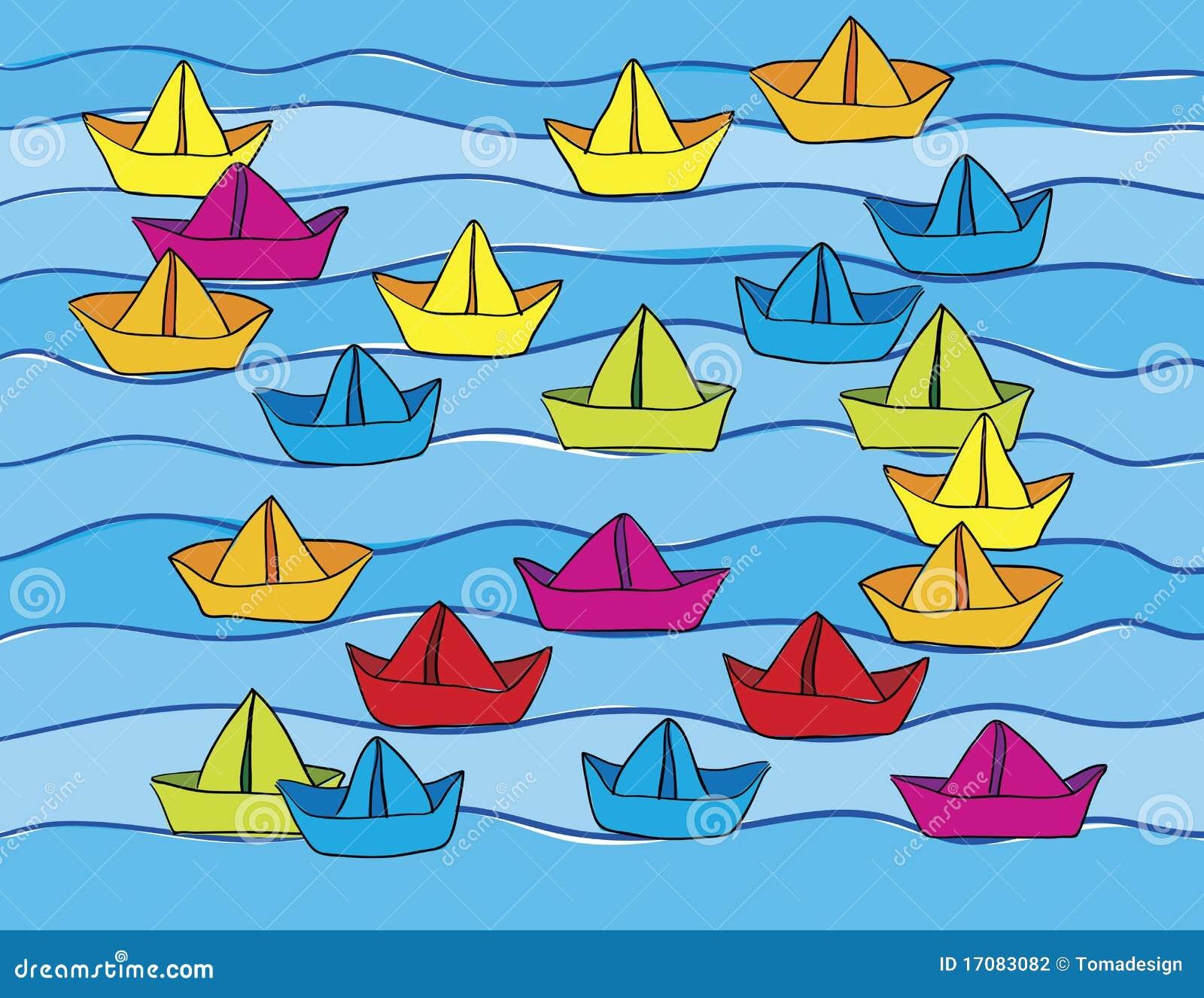 Papierboote auf Wasser