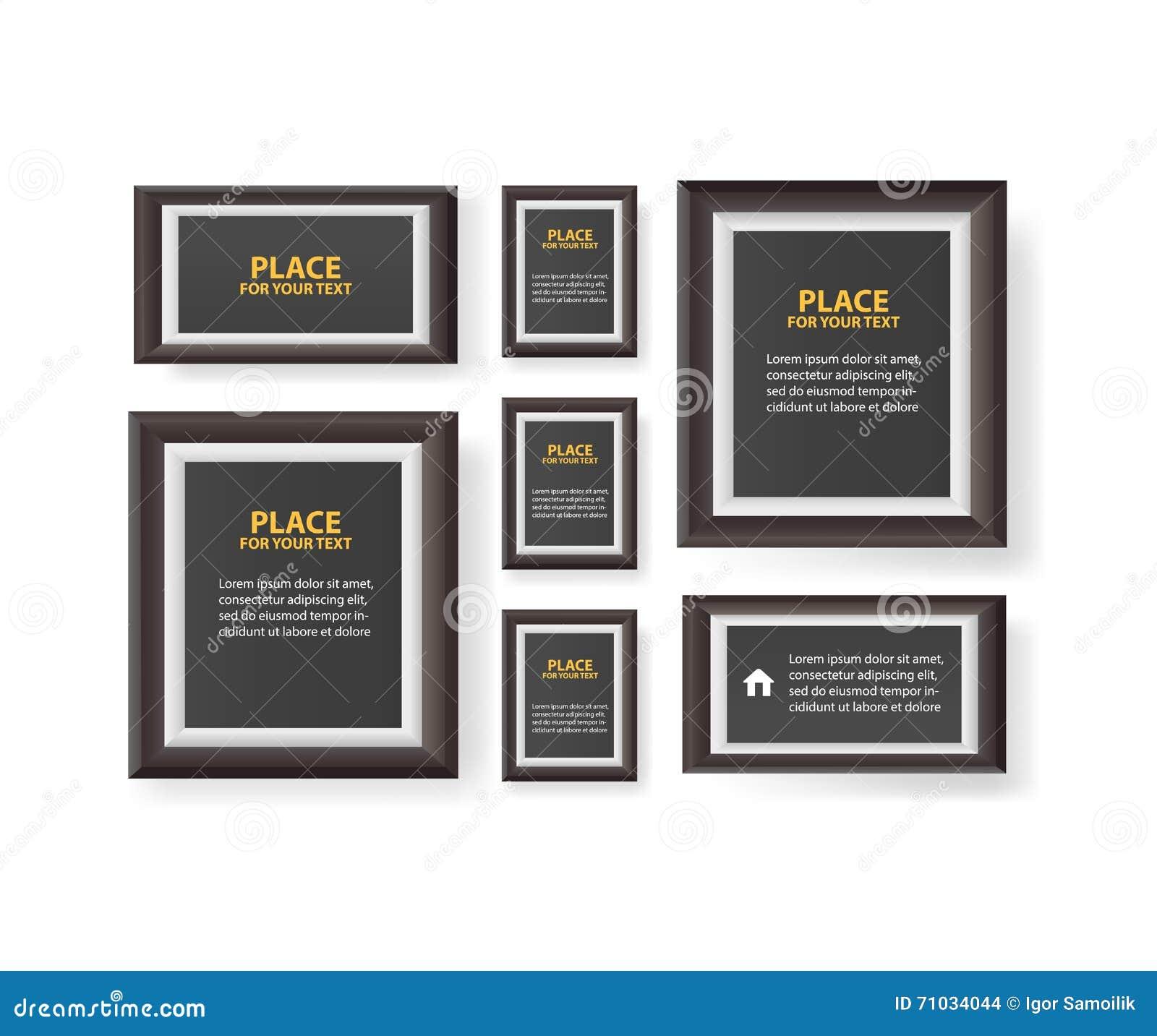 Papierdesign Mit Text Und Schatten Großer Satz Bilderrahmen Auf ...