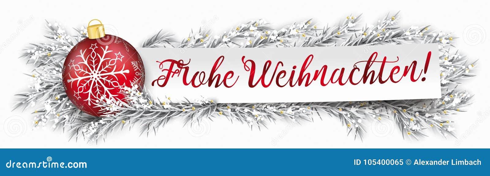 übersetzer Frohe Weihnachten.Papierfahnen Flitter Gefrorenes Zweig Weihnachten Frohe Weihnachten