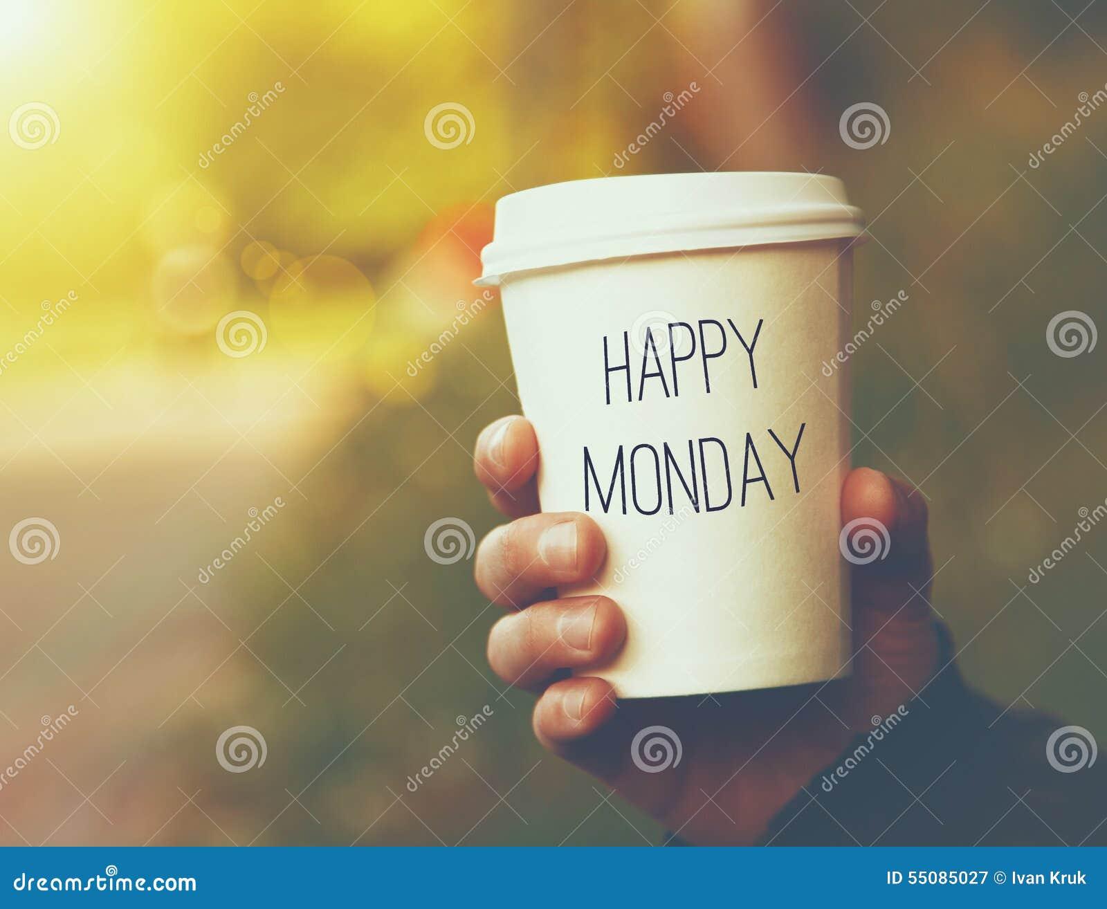 Papierkaffeetasse glücklicher Montag