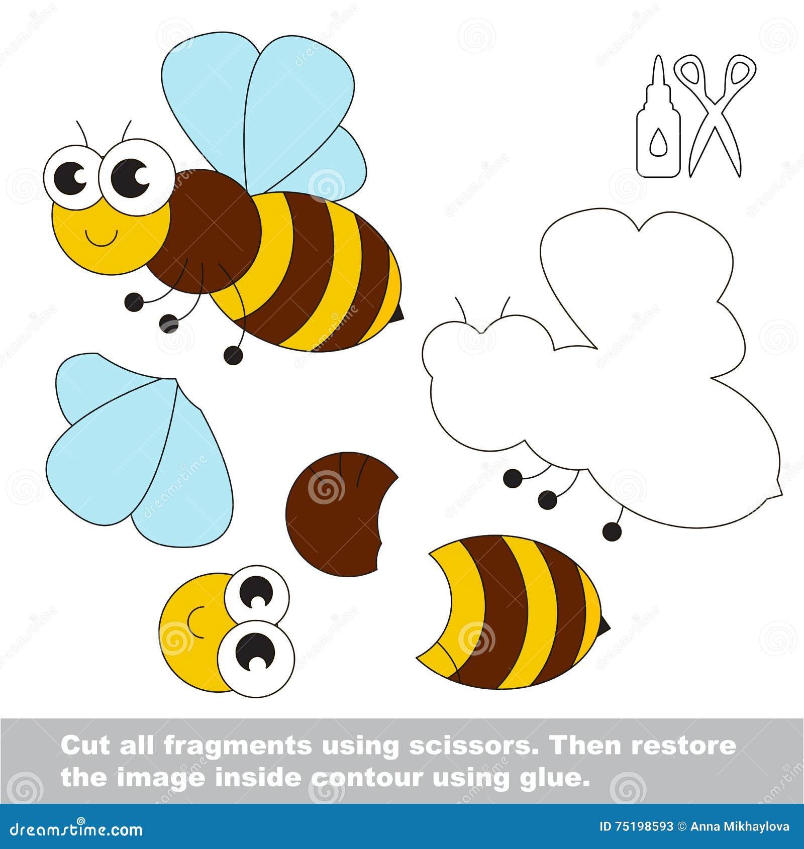 Papierowa dzieciak gra Łatwy zastosowanie dla dzieciaków z pszczołą