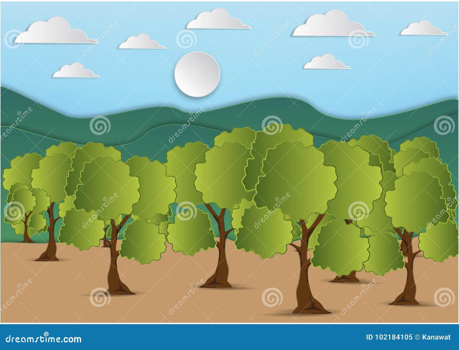 Papierowa sztuka góra i drzewo z zielonym liściem i niebem z chmury tłem, wektorowa ilustracja