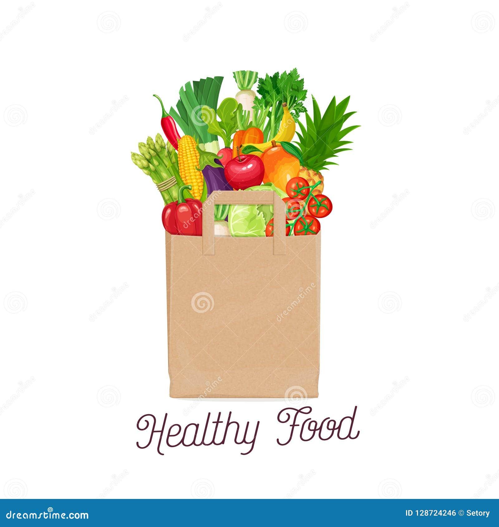 Papierowa torba zdrowy jedzenie