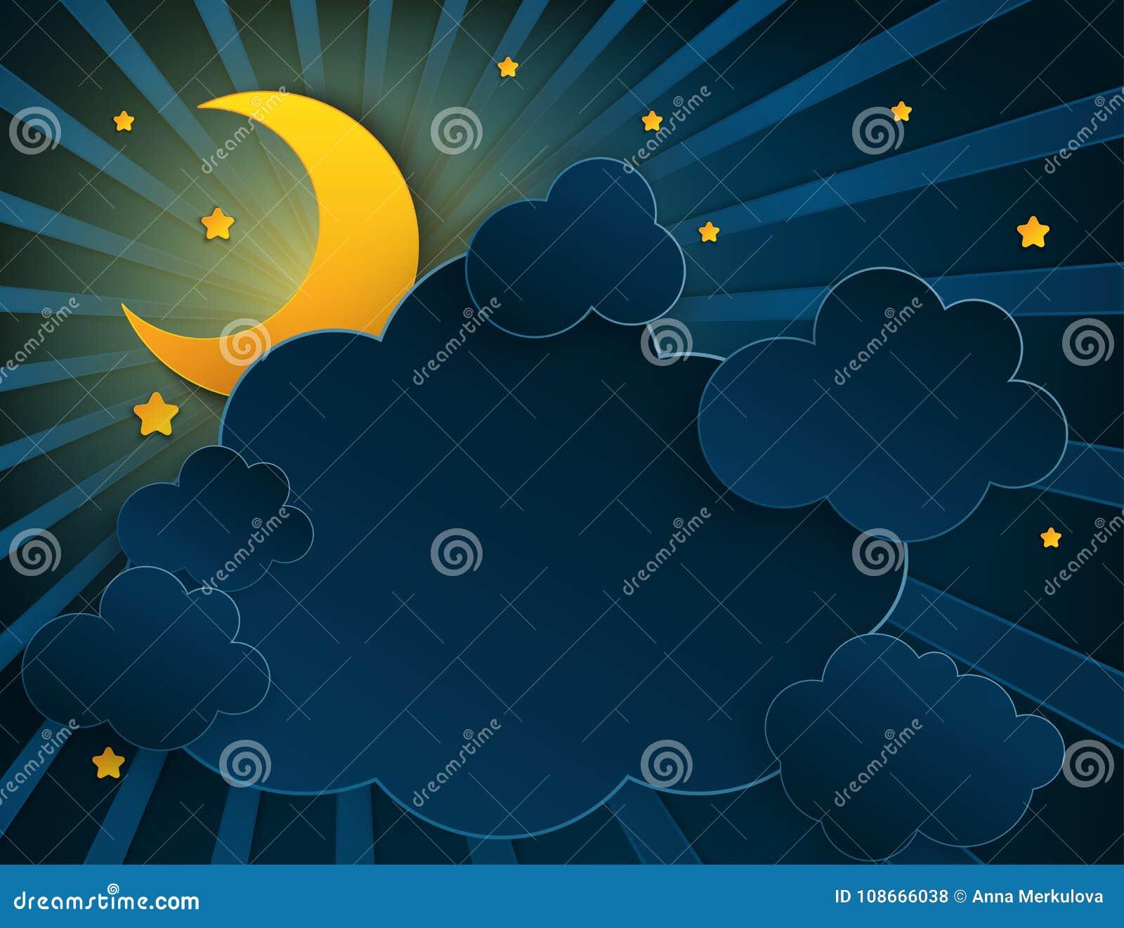 Papierowej sztuki przyrodnia księżyc, promienie, puszyste chmury i gwiazdy,