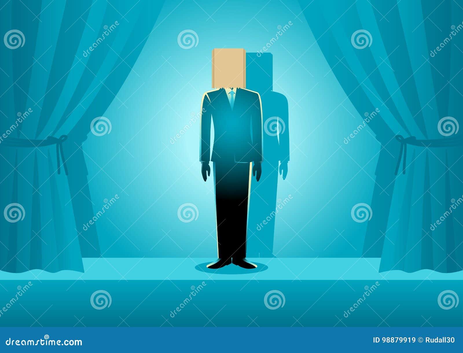 Papierowej torby głowy biznesmen