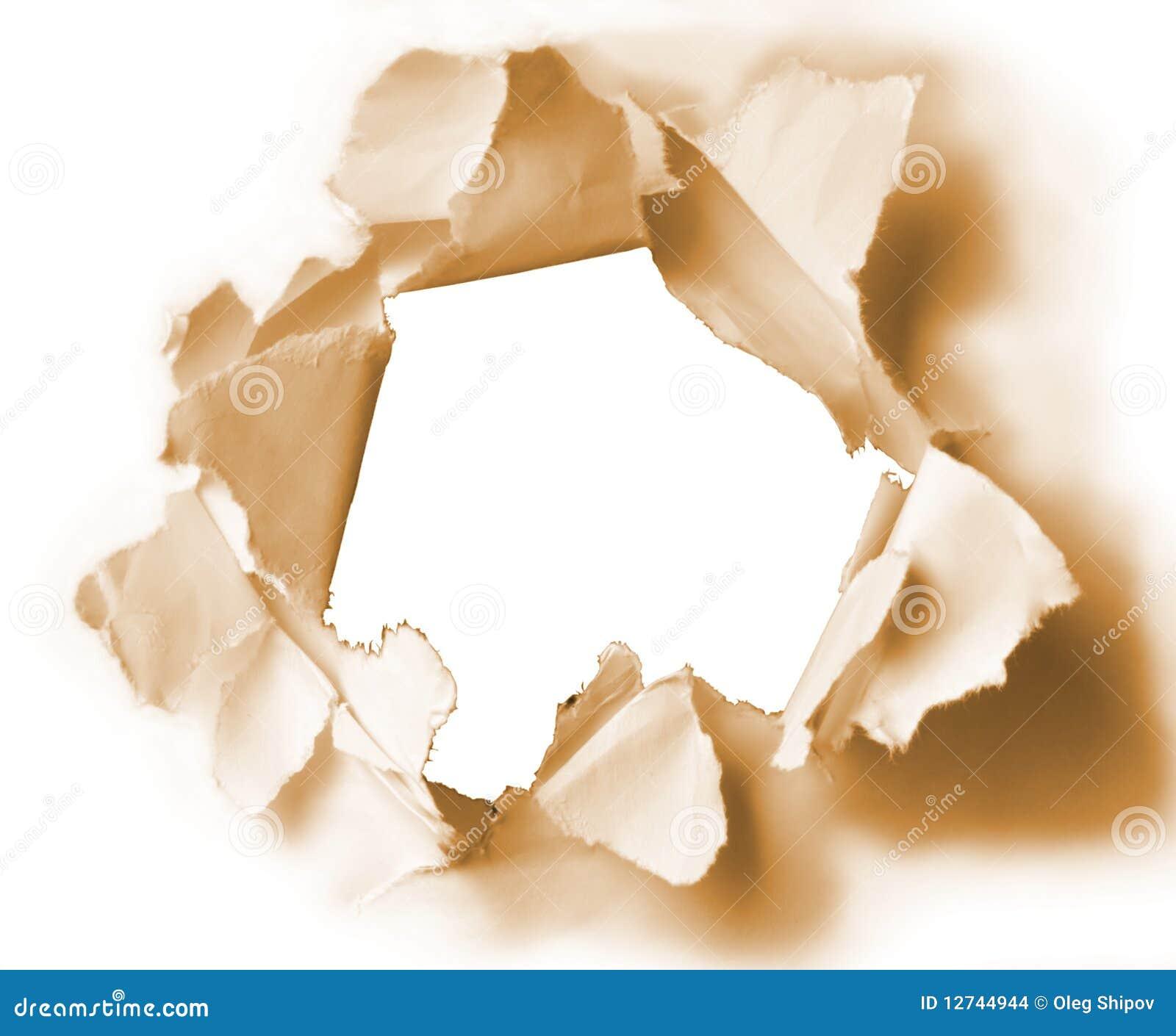 Papierowy dziury sepia