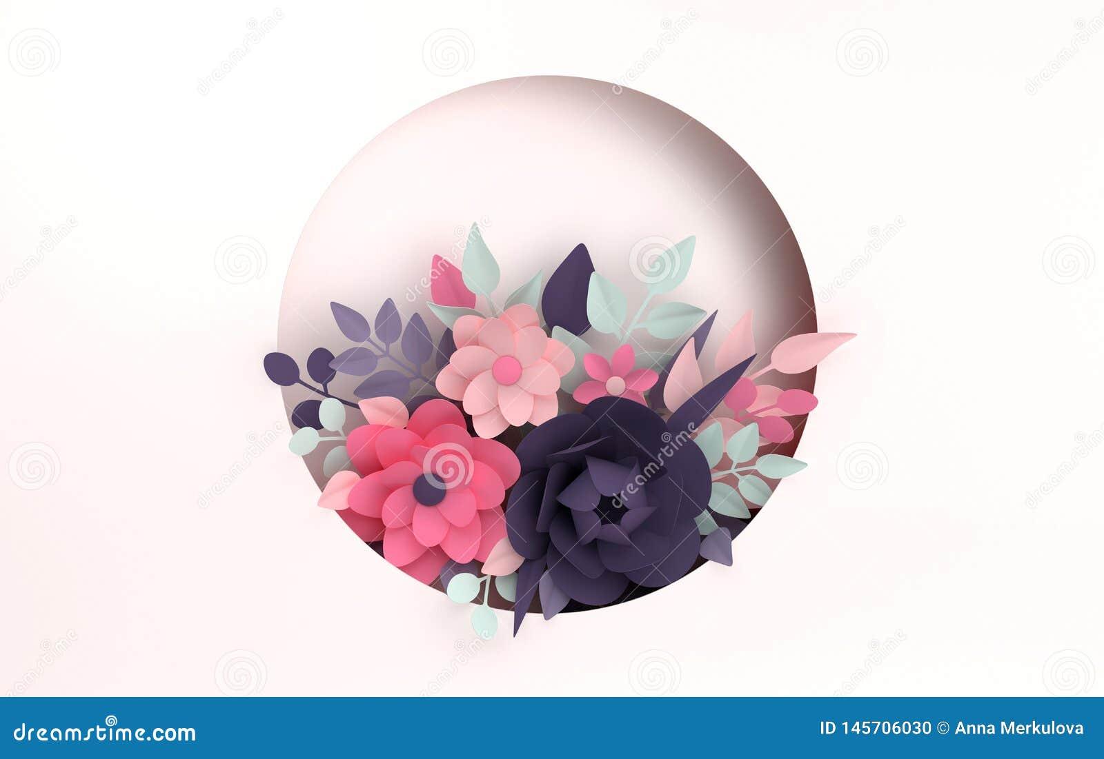 Papierowy kolorowy kwiatu t?o Walentynka dzie?, wielkanoc, matka dzie?, ?lubna kartka z pozdrowieniami 3d odp?acaj? si? cyfrow? w