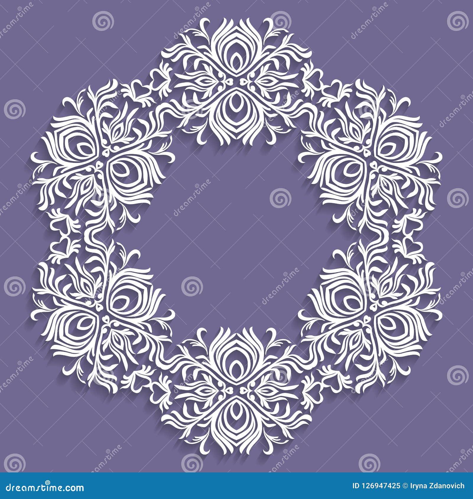 Papierowy koronkowy doily, dekoracyjny płatek śniegu, mandala, round ornament, Round projekta element Może używać dla tapety, tło