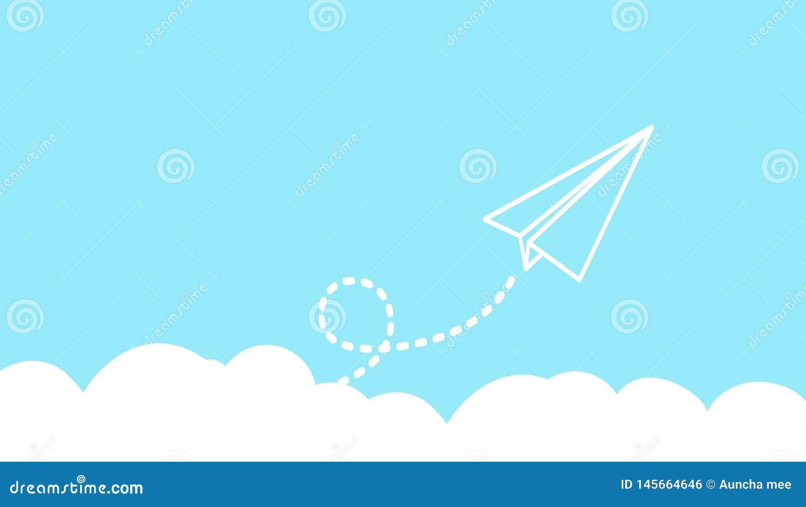 Papierowy lotniczy latanie na blye nieba tle