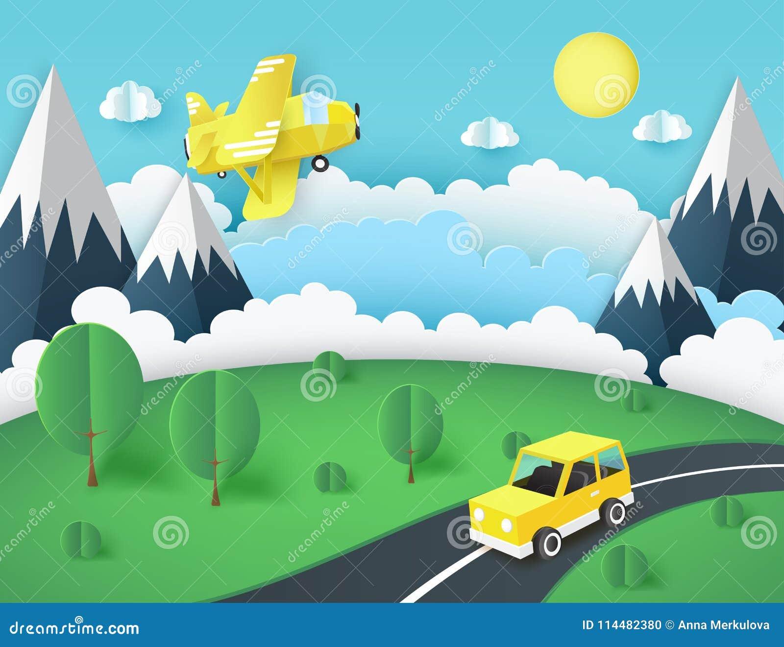 Papierowy sztuki tło, żółty samolot w niebie, samochód