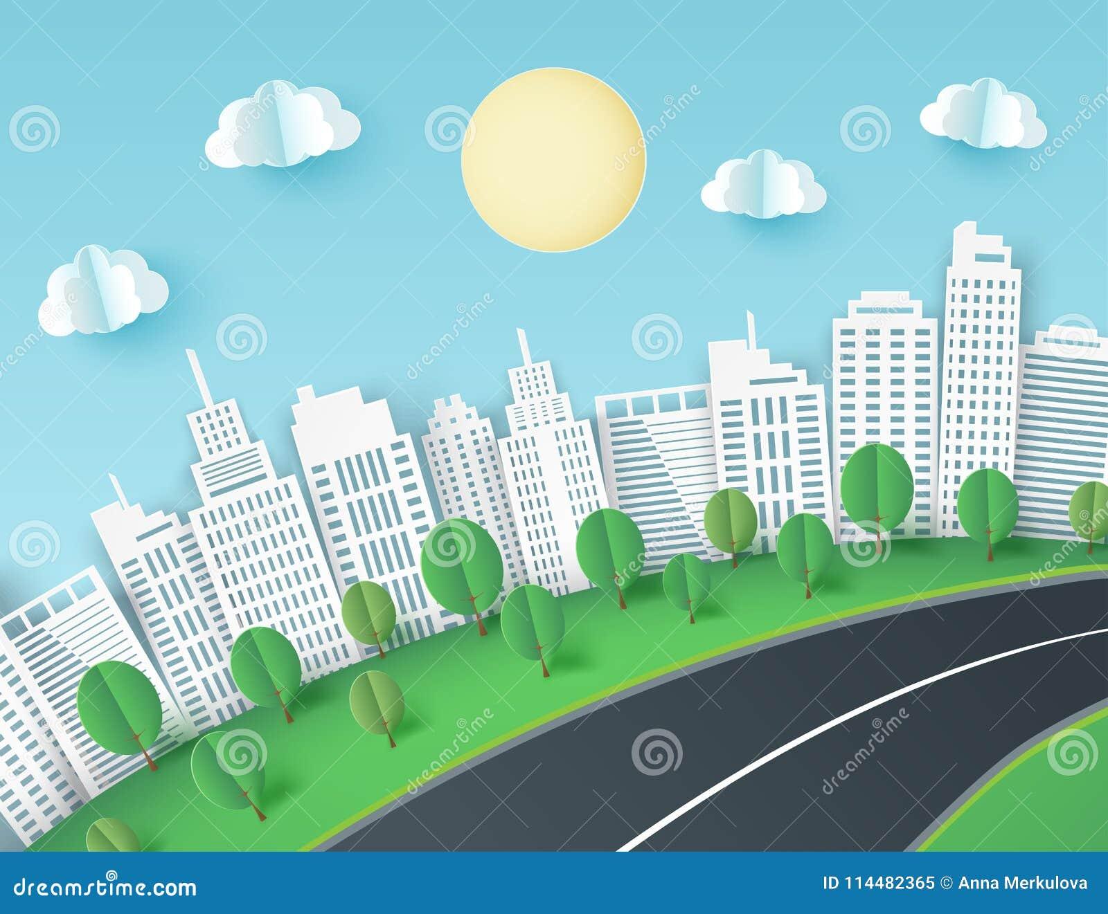 Papierowy sztuki tło z miasto widokiem Puszyste papierowe chmury, droga,