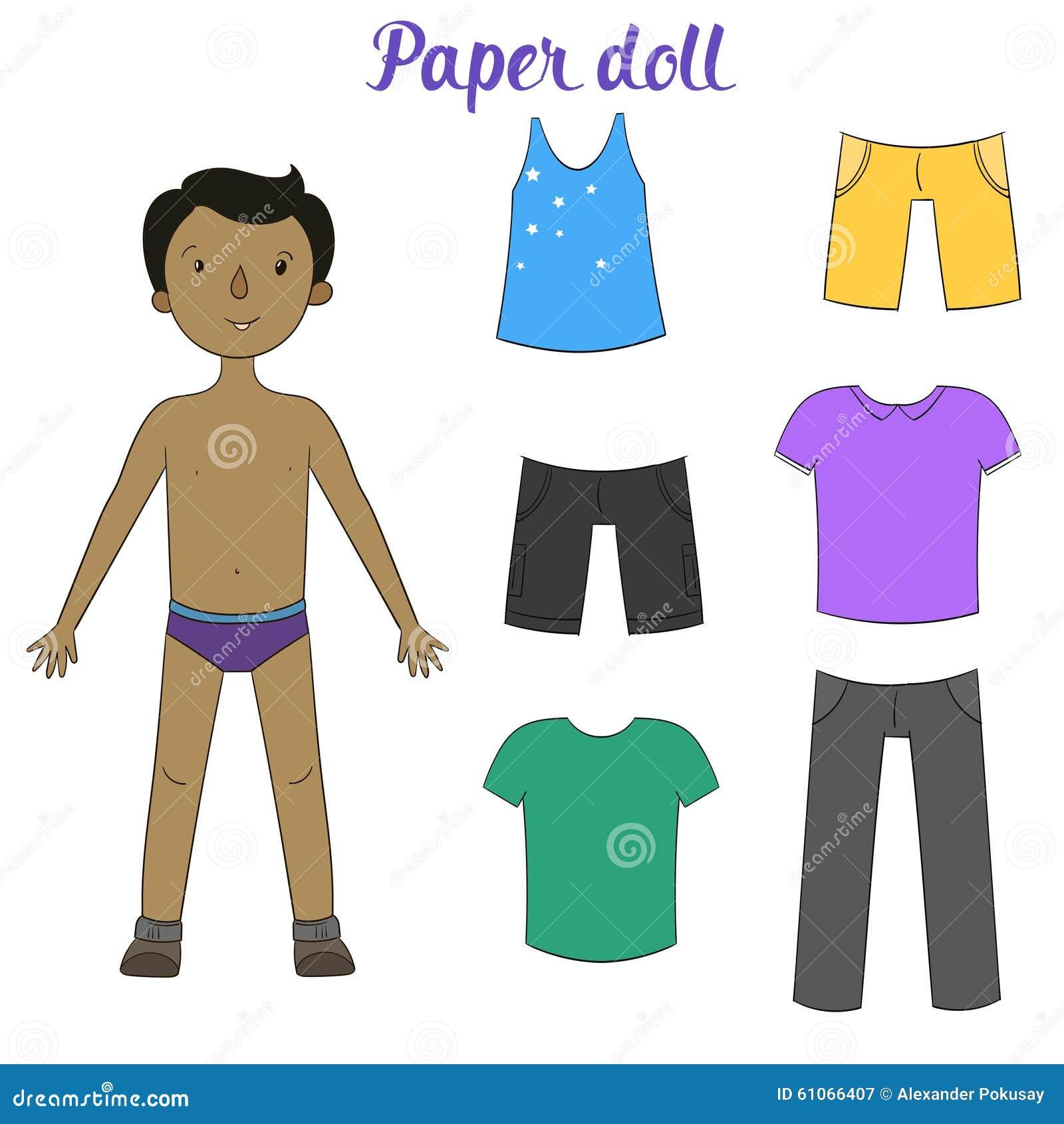 Papierpuppenjunge Und Kleidungsvektorillustration Vektor Abbildung ...