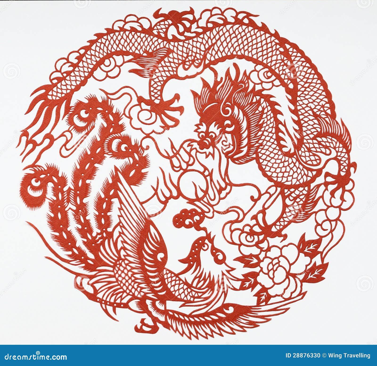 Papierschnitt des Drachen und des Phoenix