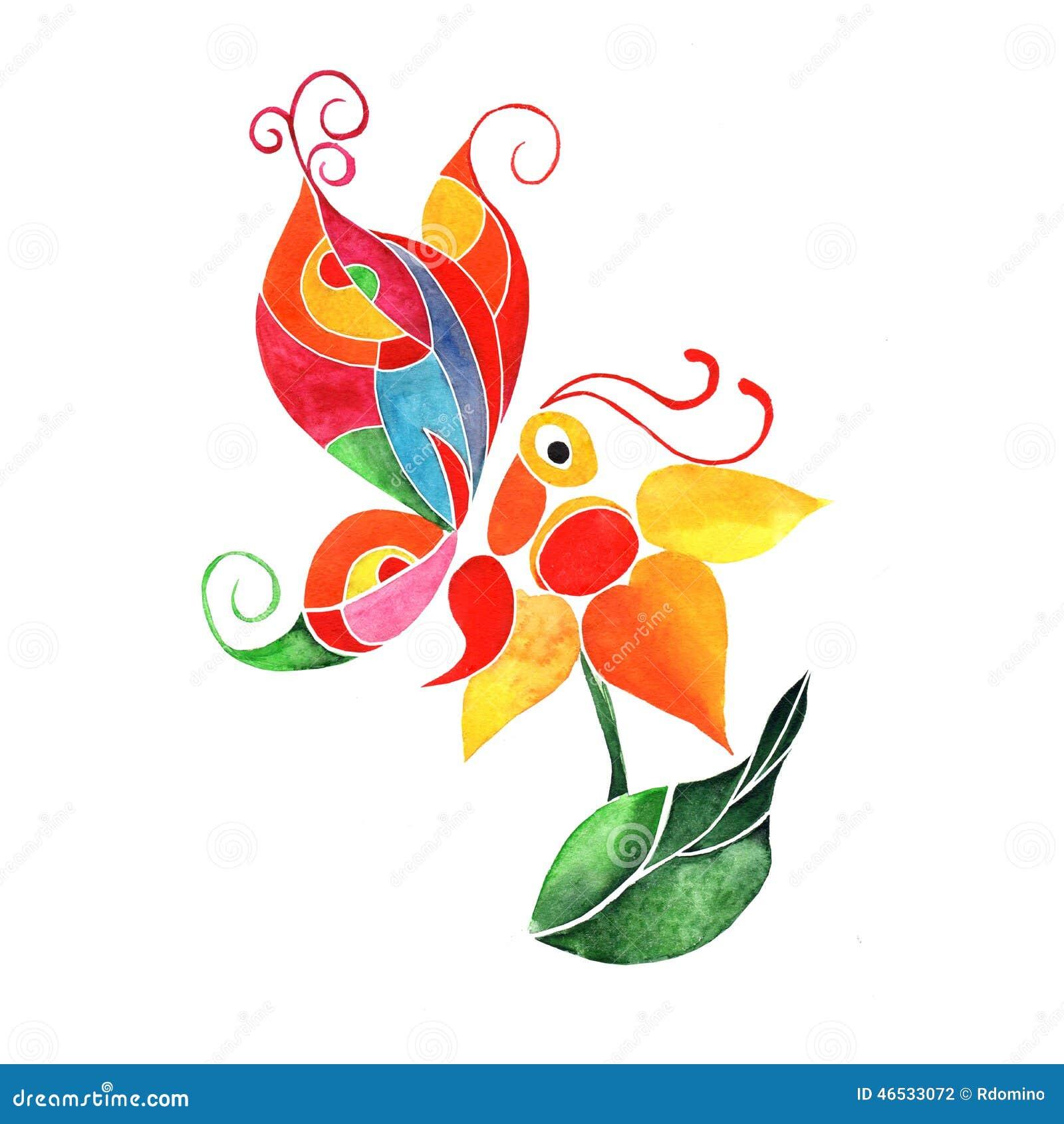 Papillon abstrait d 39 aquarelle sur une fleur illustration - Papillon fleur ...