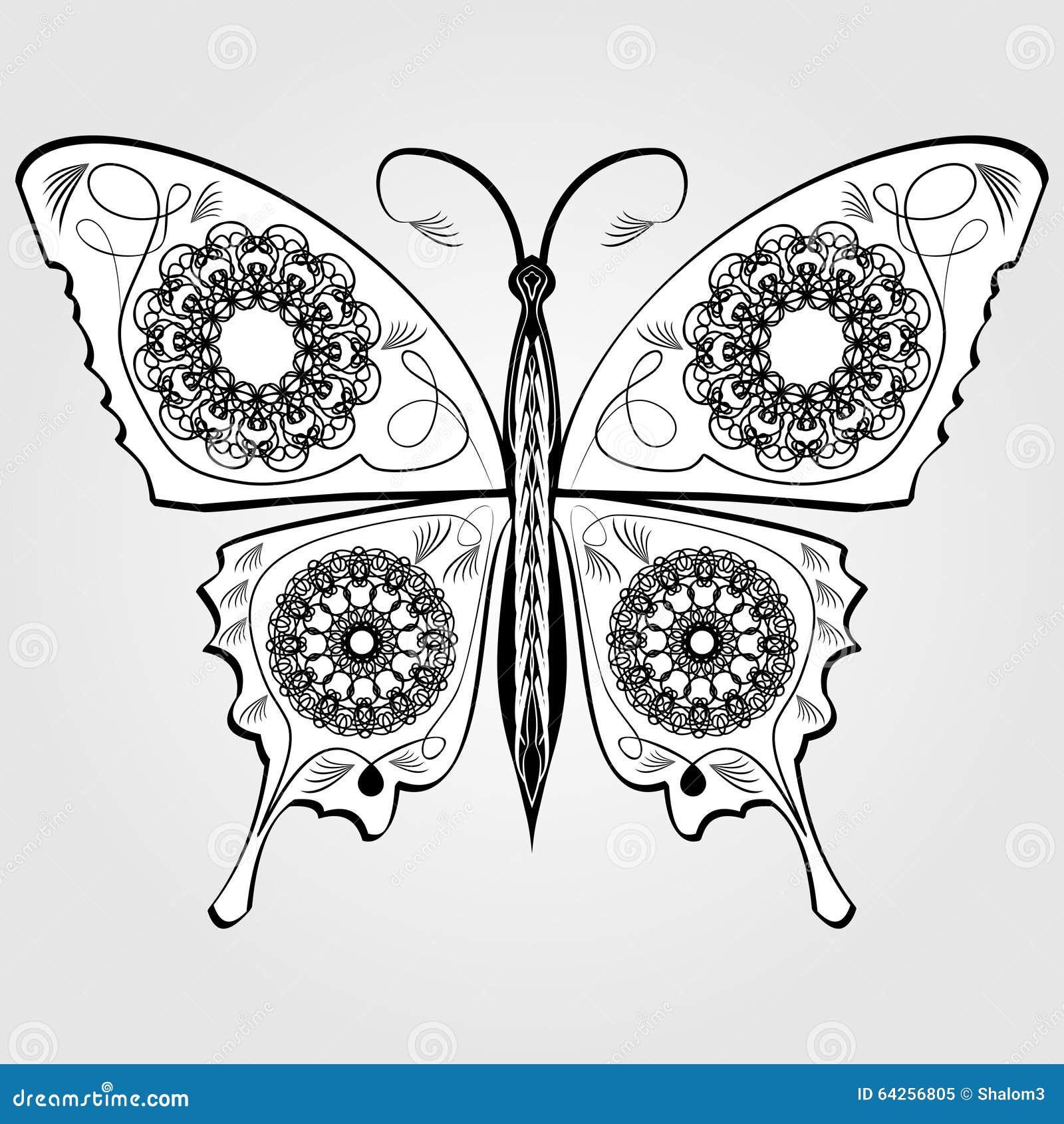 Papillon avec le mod le de dentelle sur des ailes le dessin calligraphique blanc et noir - Modele de papillon ...