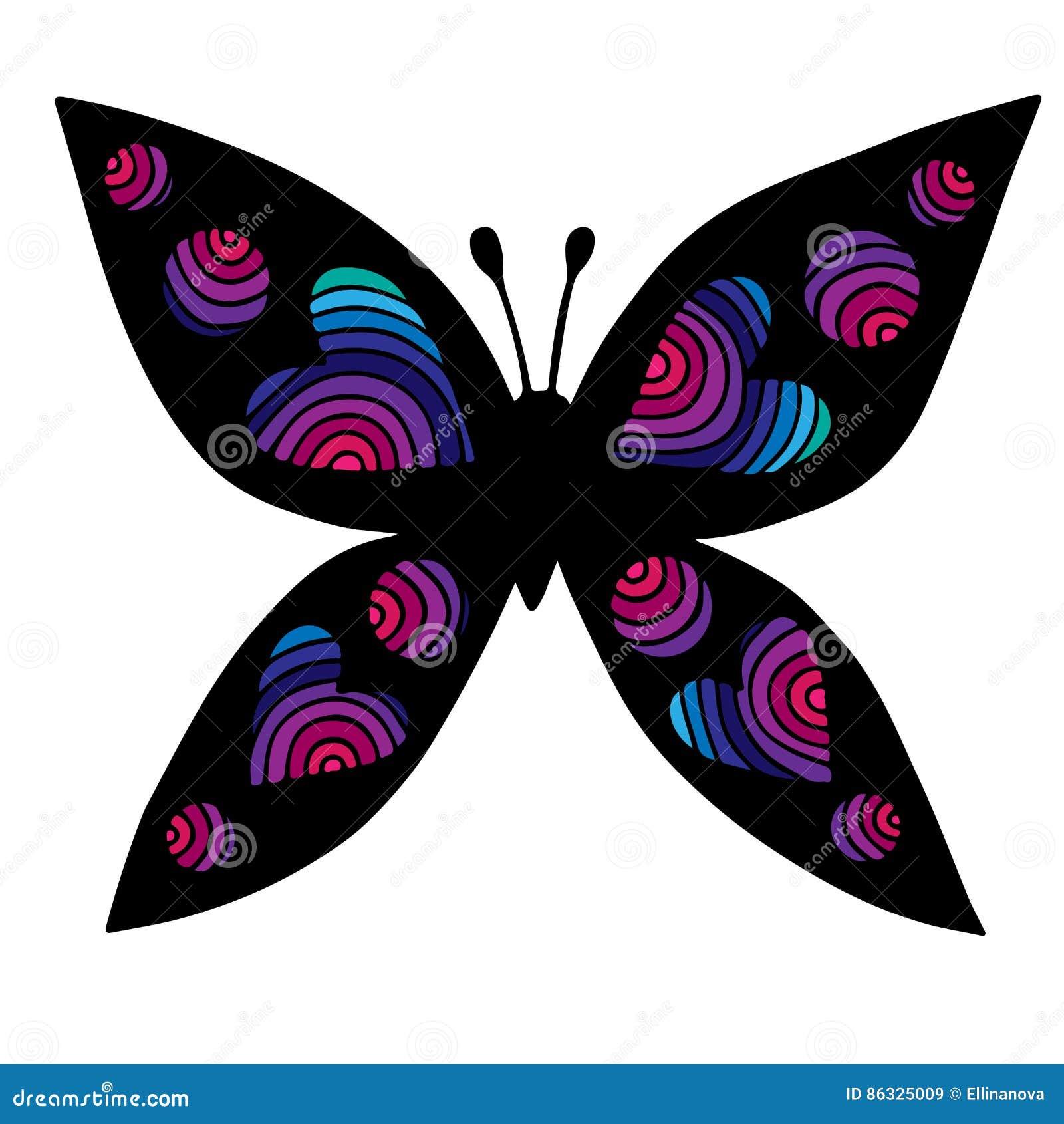Papillon D Isolement Colore Avec Le Coeur Sur L Aile Pour Le