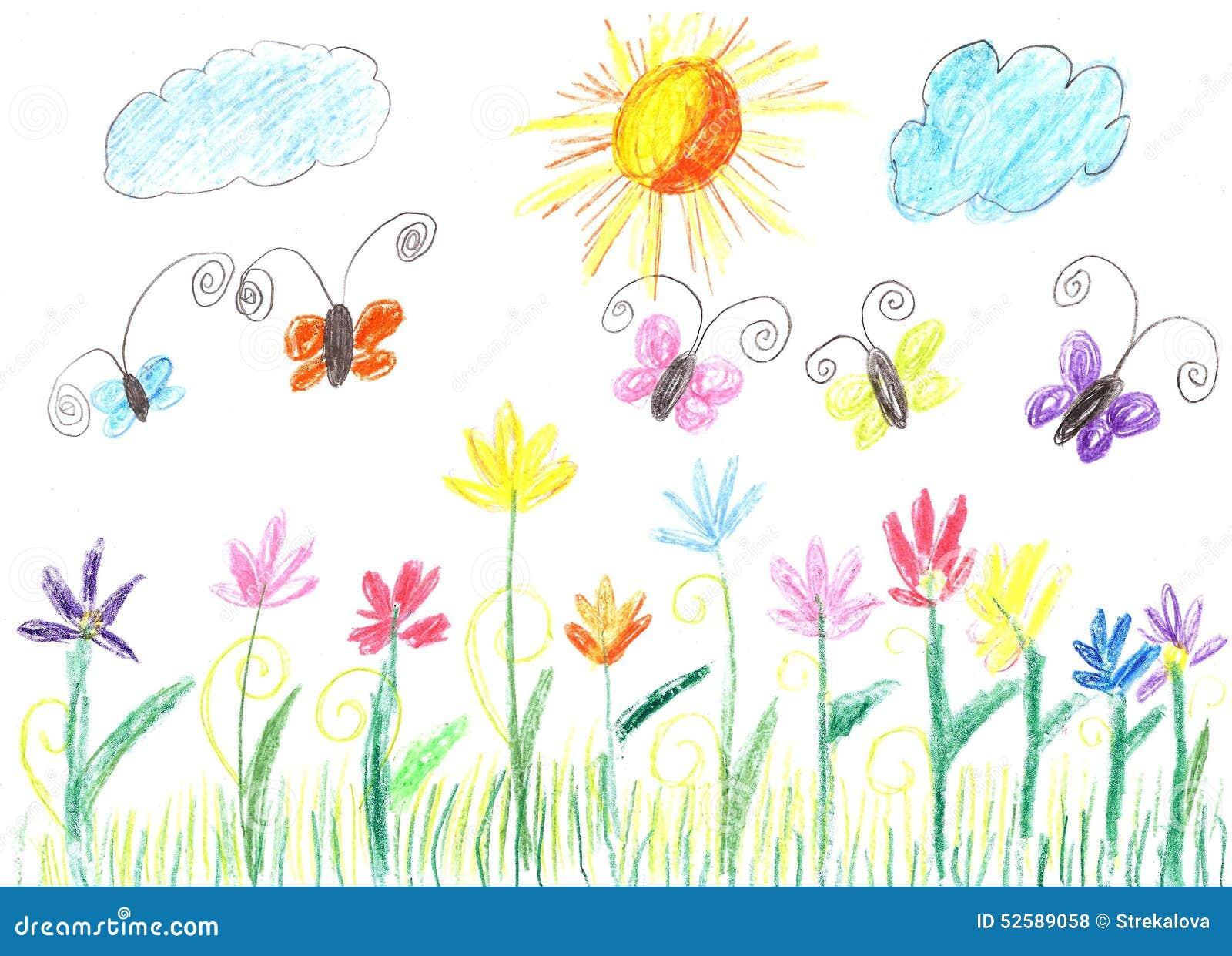 Papillon de dessin d 39 enfant et nature de fleurs illustration stock image 52589058 - Initiatives fleurs et nature ...
