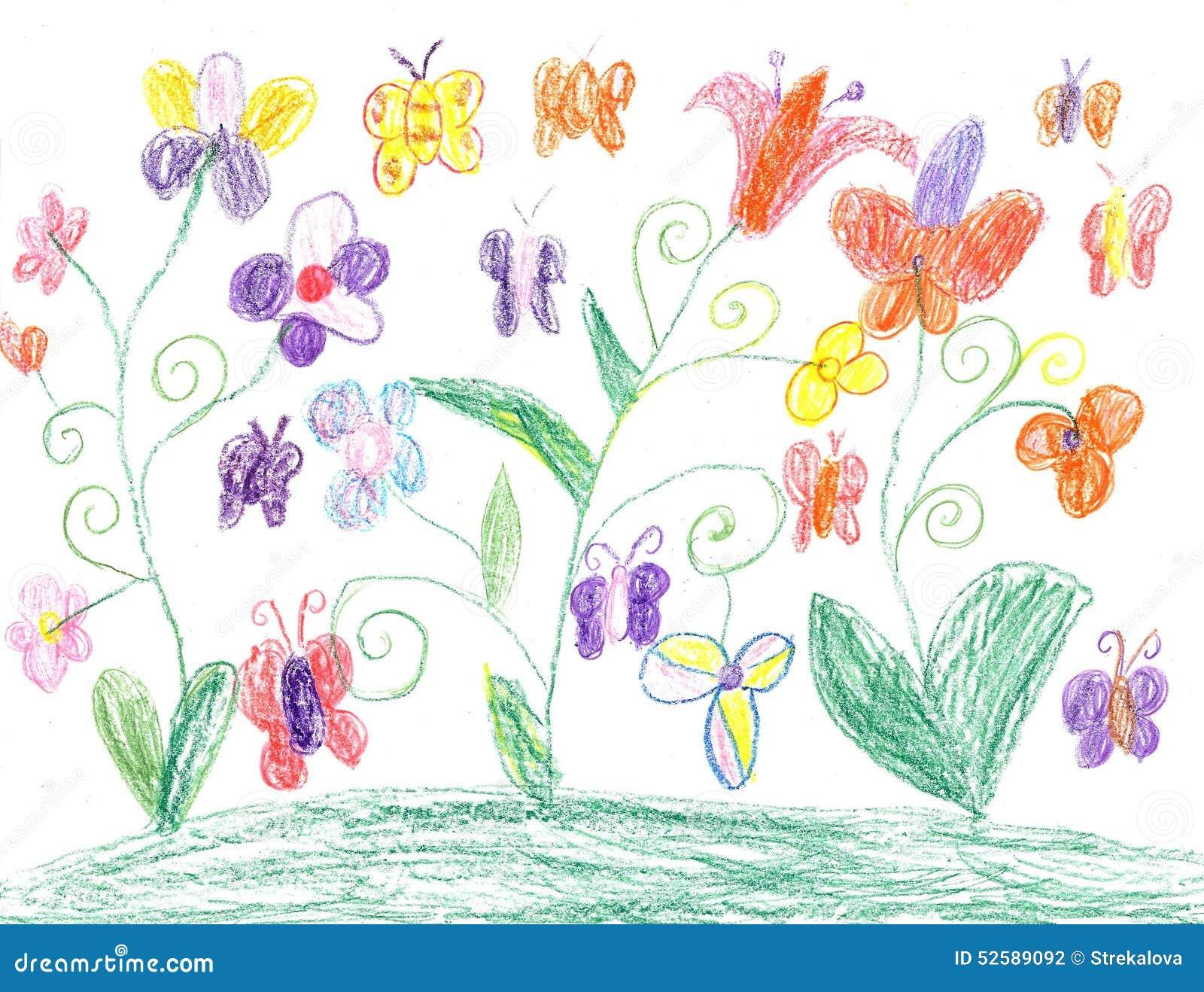 papillon de dessin d 39 enfant et nature de fleurs. Black Bedroom Furniture Sets. Home Design Ideas