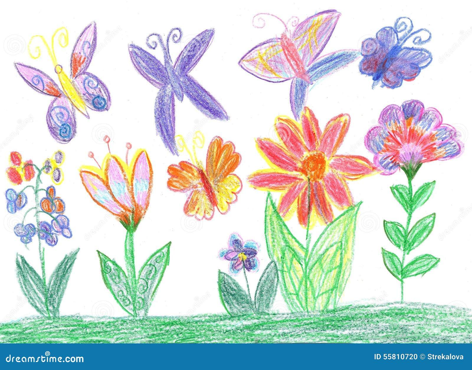 Papillon de dessin d 39 enfant et nature de fleurs illustration stock image 55810720 - Initiatives fleurs et nature ...