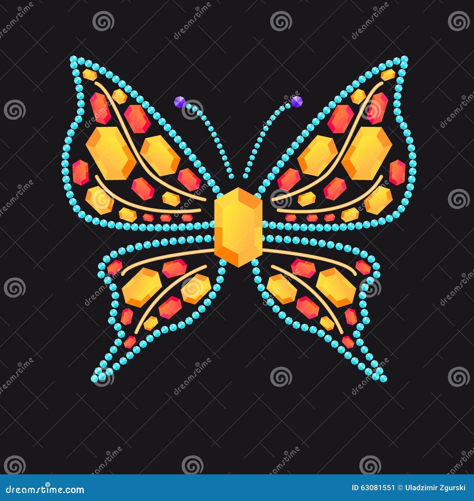 Download Papillon Des Gemmes Colorées Brillantes Illustration de Vecteur - Illustration du élégance, broche: 63081551