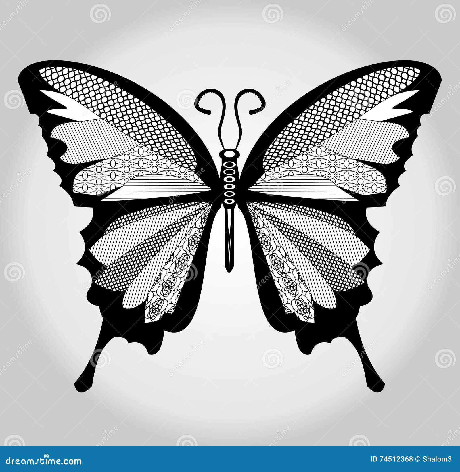 papillon dessin noir et blanc avec les parties hach es sur des ailes illustration de vecteur. Black Bedroom Furniture Sets. Home Design Ideas