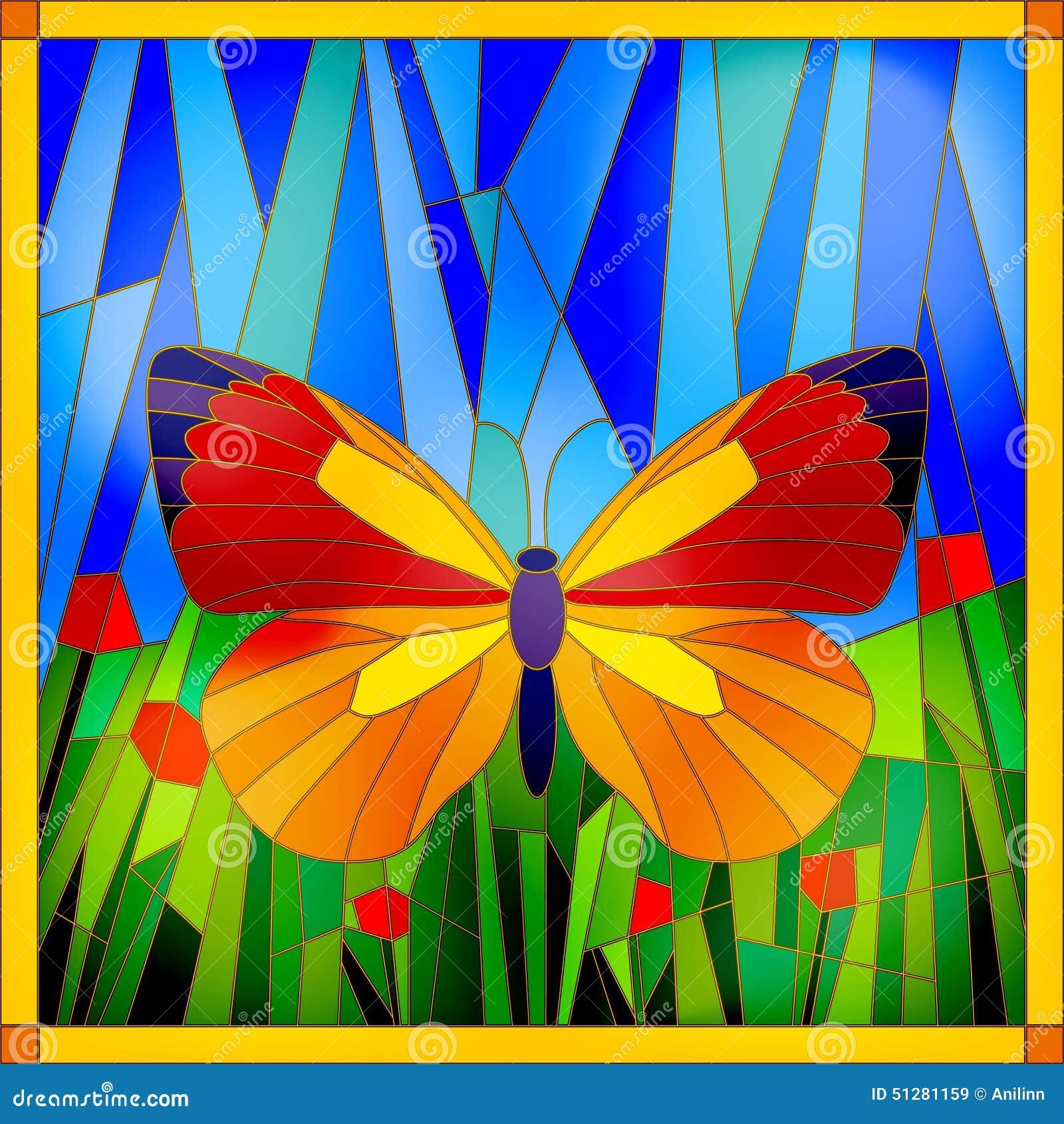 Papillon en verre souillé