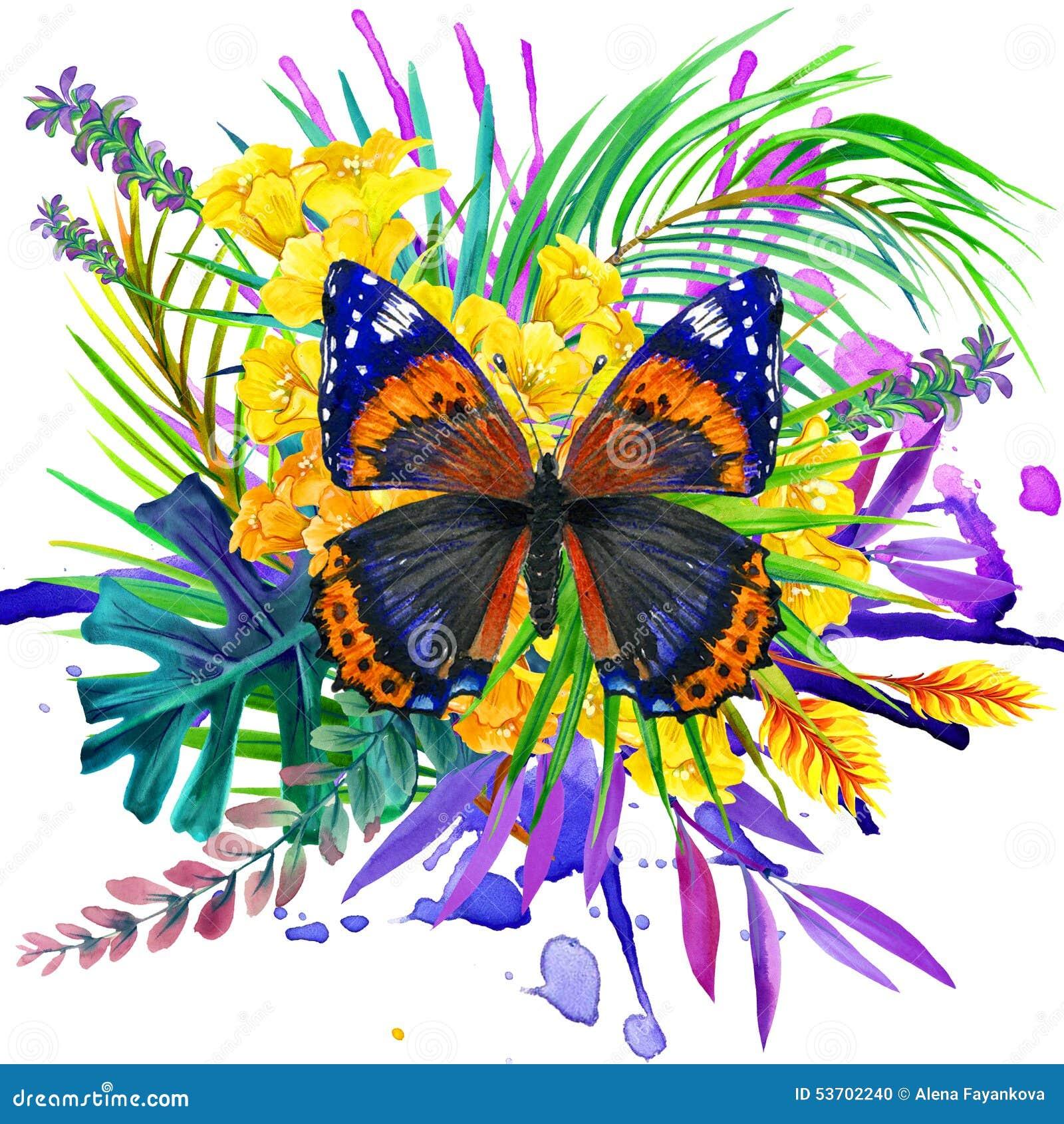 Papillon feuilles tropicales et fleur exotique - Image papillon et fleur ...