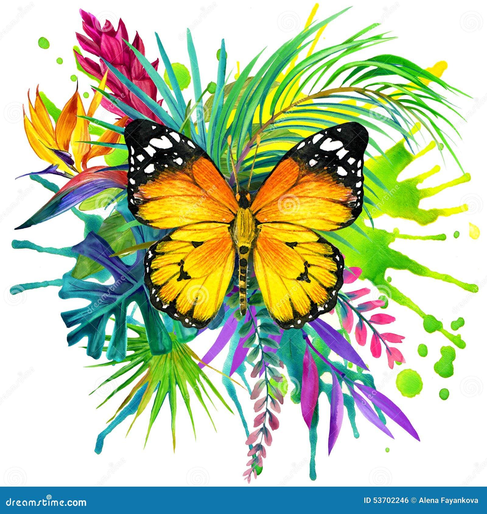 Papillon, feuilles tropicales et fleur exotique