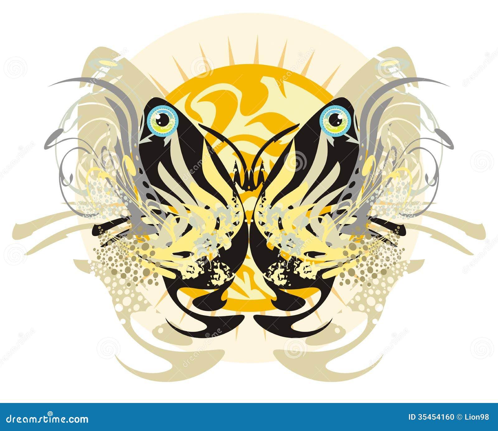 Papillon tribal floral et soleil levant illustration de - Tribal papillon ...