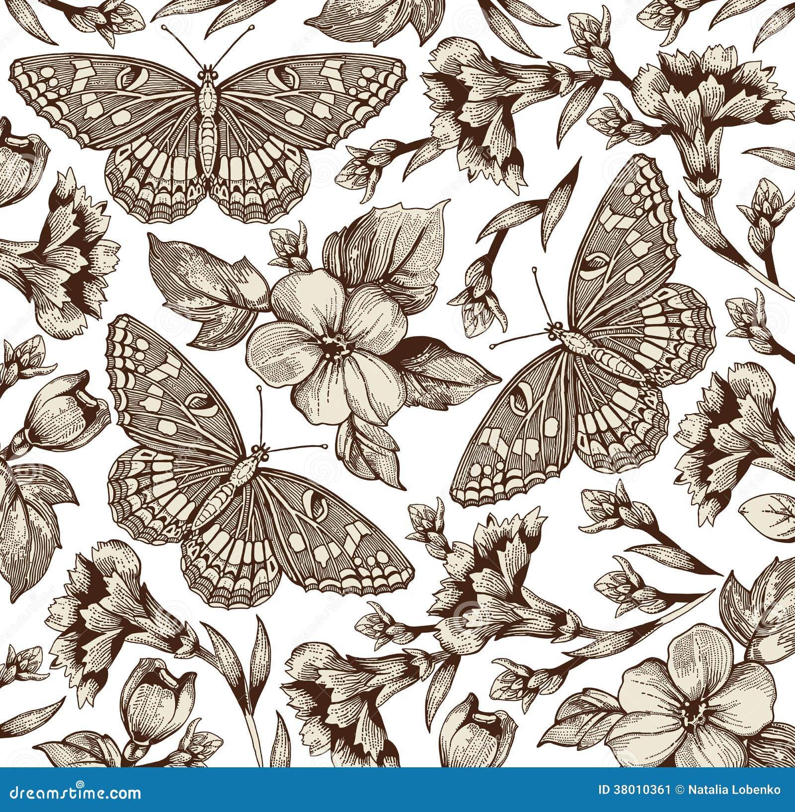 Papillons fleurs beau fond illustration de vecteur - Papillon fleur ...