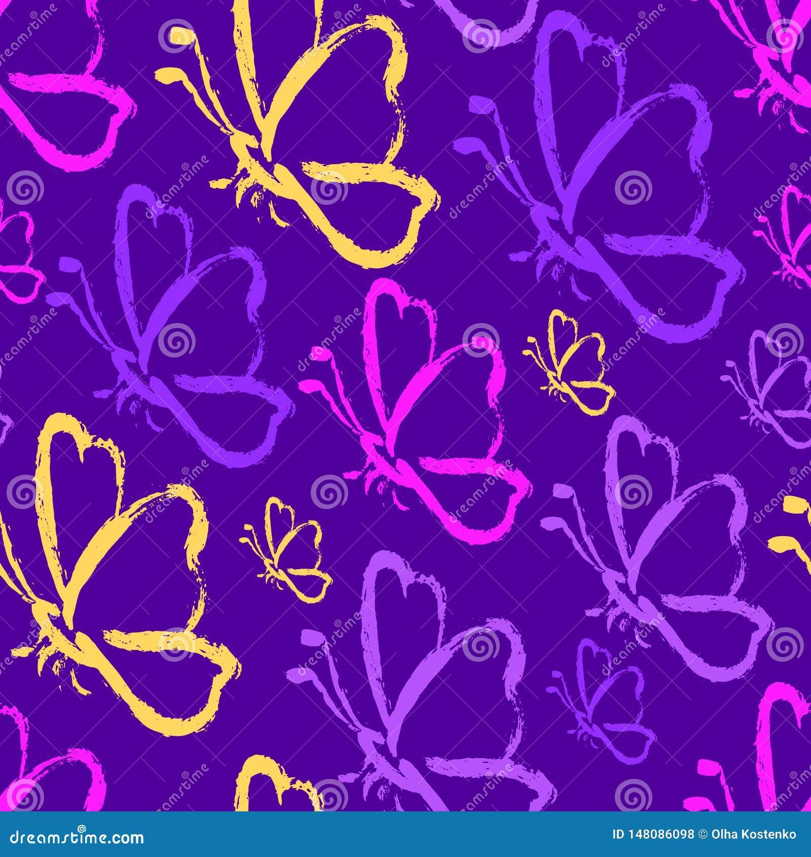 Papillons sans couture d aspiration de main dans des couleurs pourpres de proton