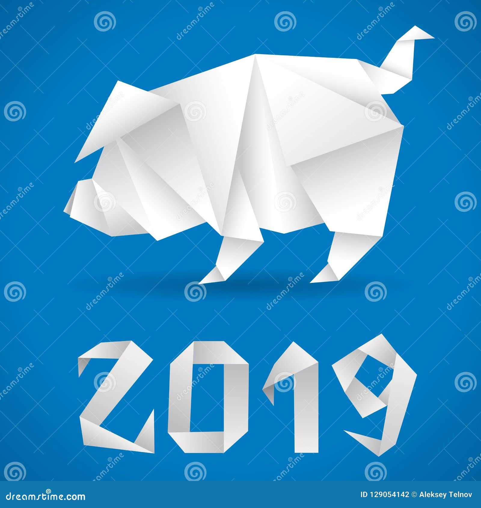 Papiroflexia china 2019 del cerdo del Año Nuevo