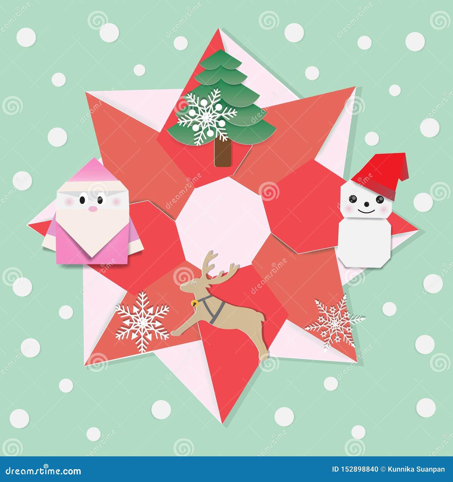 Papiroflexia de la guirnalda de la Feliz Navidad