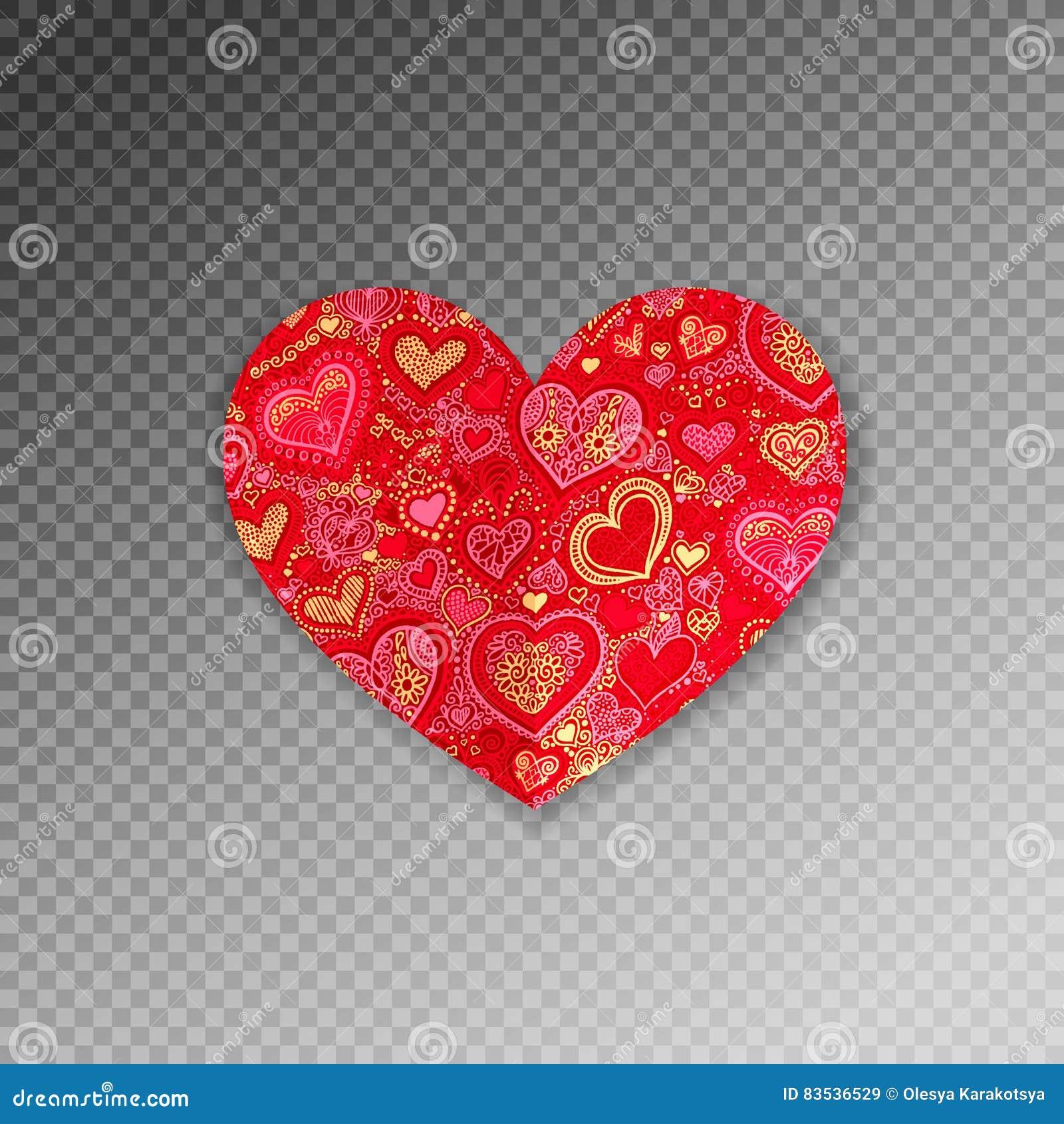 Papiroflexia de papel adornada roja de la forma del corazón con la sombra
