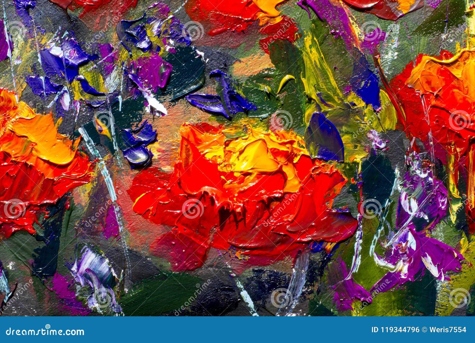 Papoilas amarelas vermelhas das flores macro na grama verde Fragmento da pintura do close-up Lona, óleo, faca de paleta Flores ab