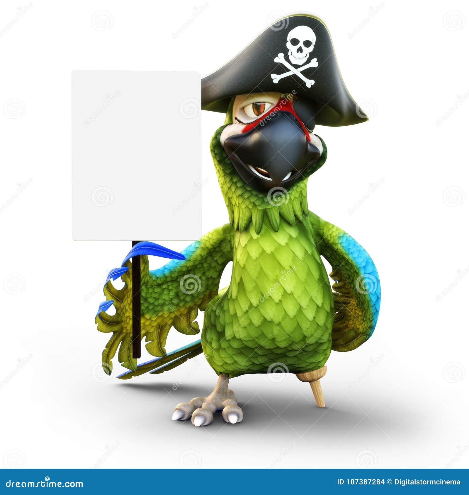 Pappagallo sorridente del pirata con la gamba, il cappello e la toppa di piolo tenenti un segno vuoto del bordo bianco con stanza