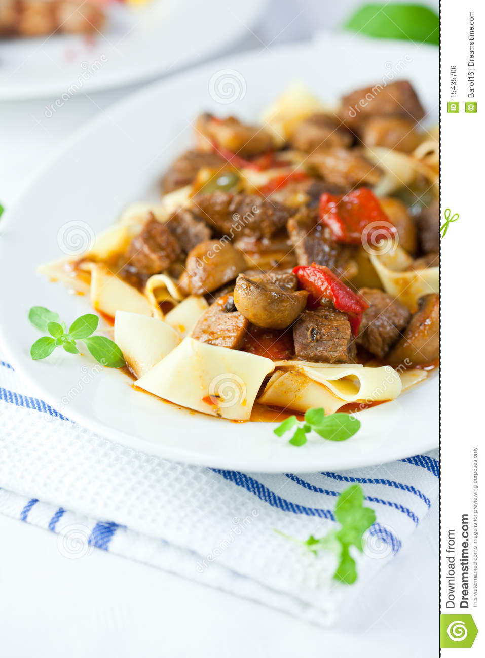 Pappardelle Pasta With Beef Goulash Royalty Free Stock Image - Image ...