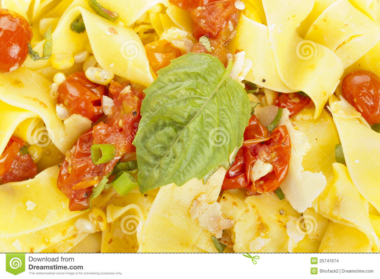 Pappardelle Pasta with corn and tomatoes