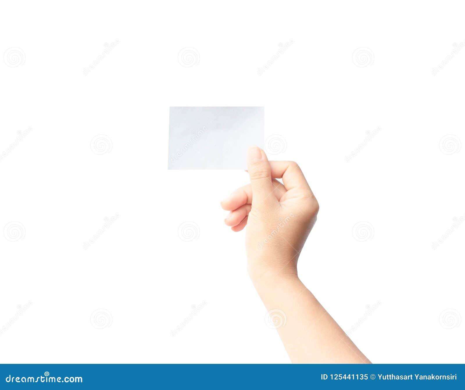 Papper för kvinnahandinnehav som isoleras på vit bakgrund