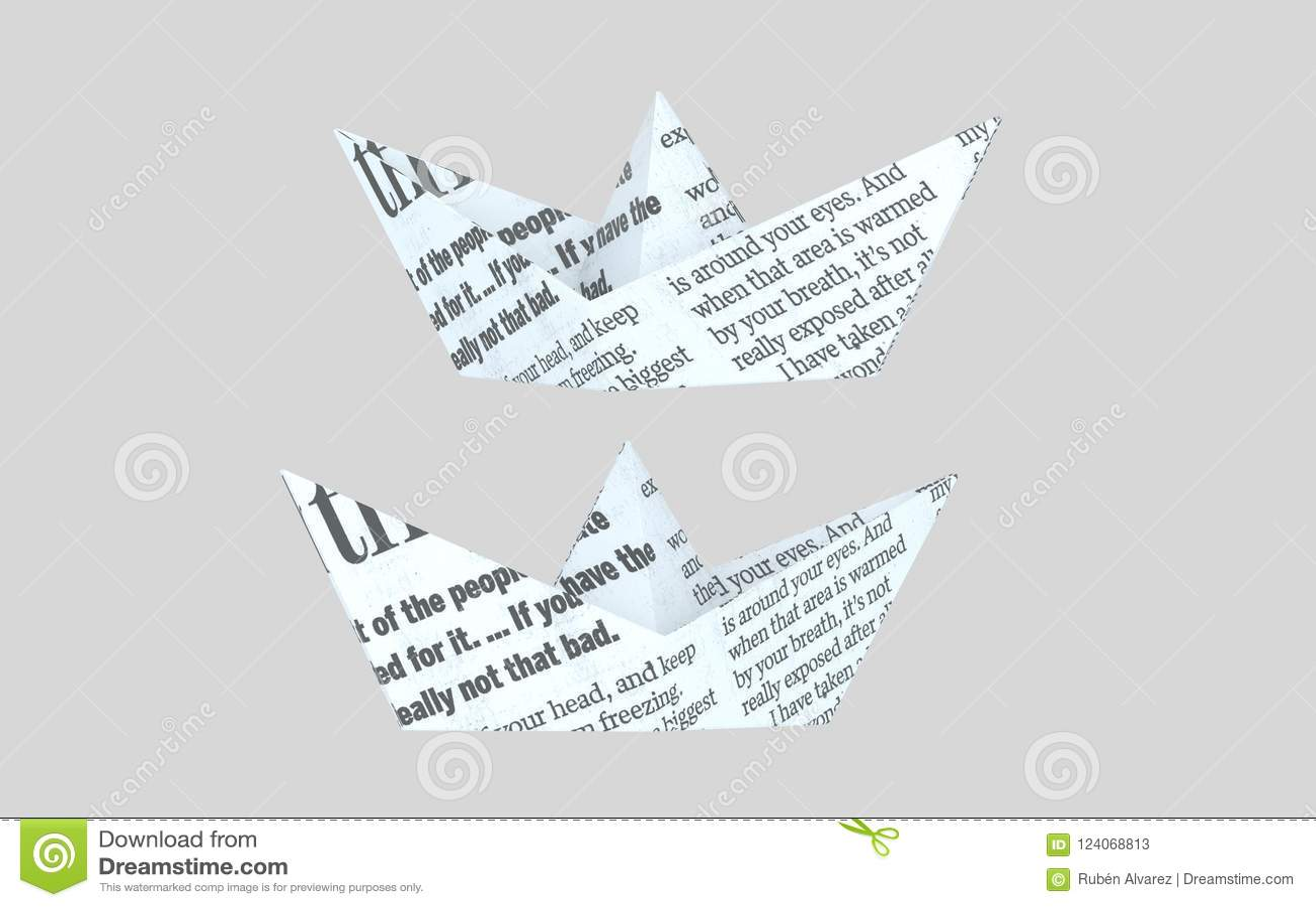 Pappers- boatt för tidning pappersfartyg för illustrationWhite 3d