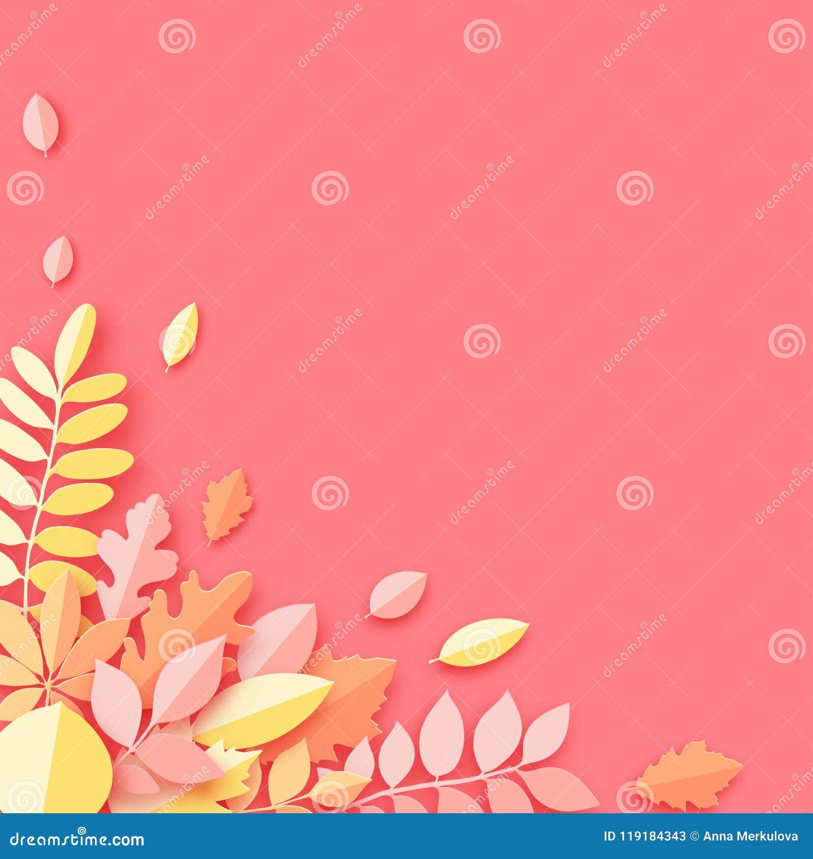 Pappers- den höstlönn, eken och annan lämnar pastell färgad bakgrund