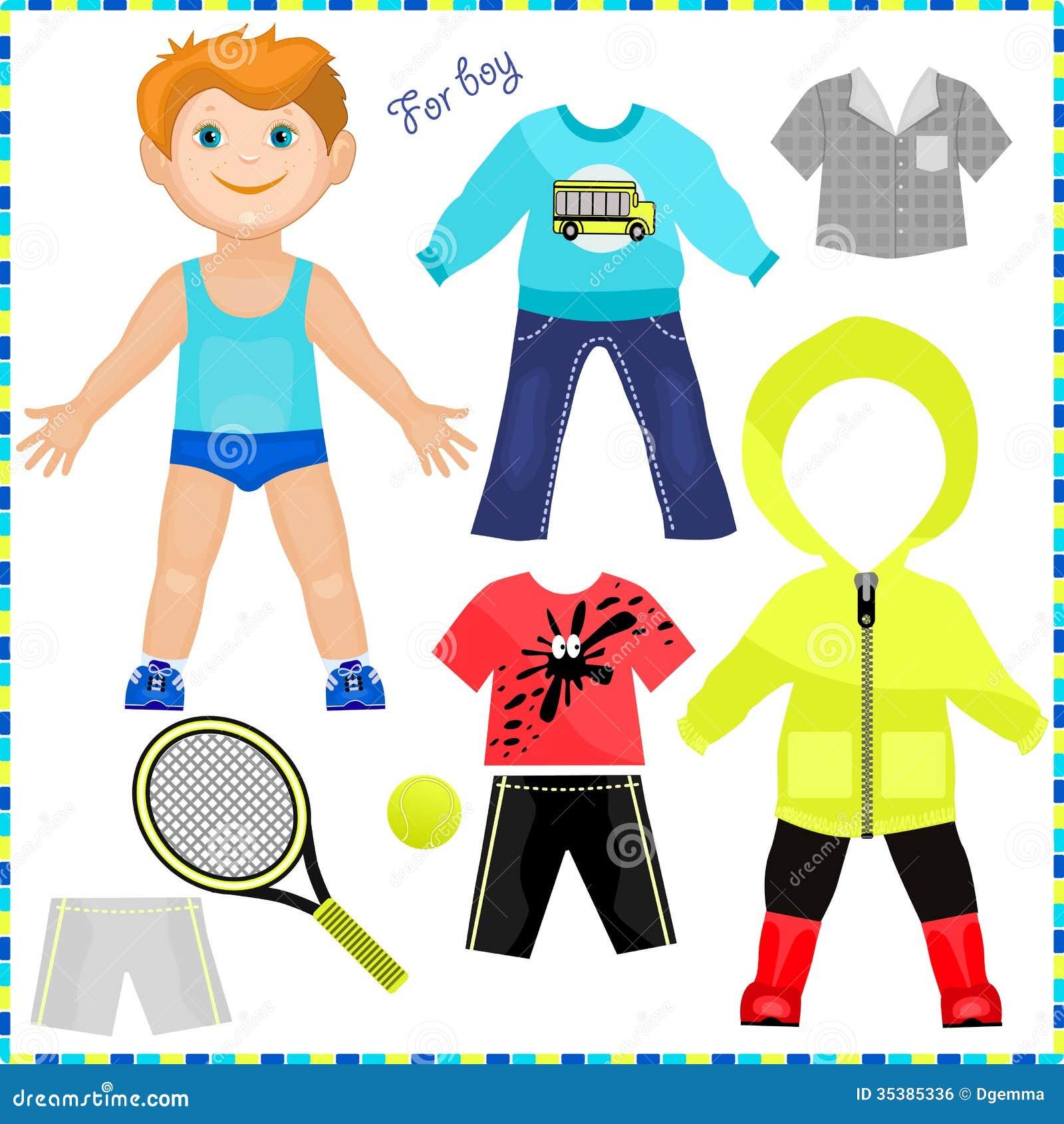 Pappers- docka med en uppsättning av kläder.