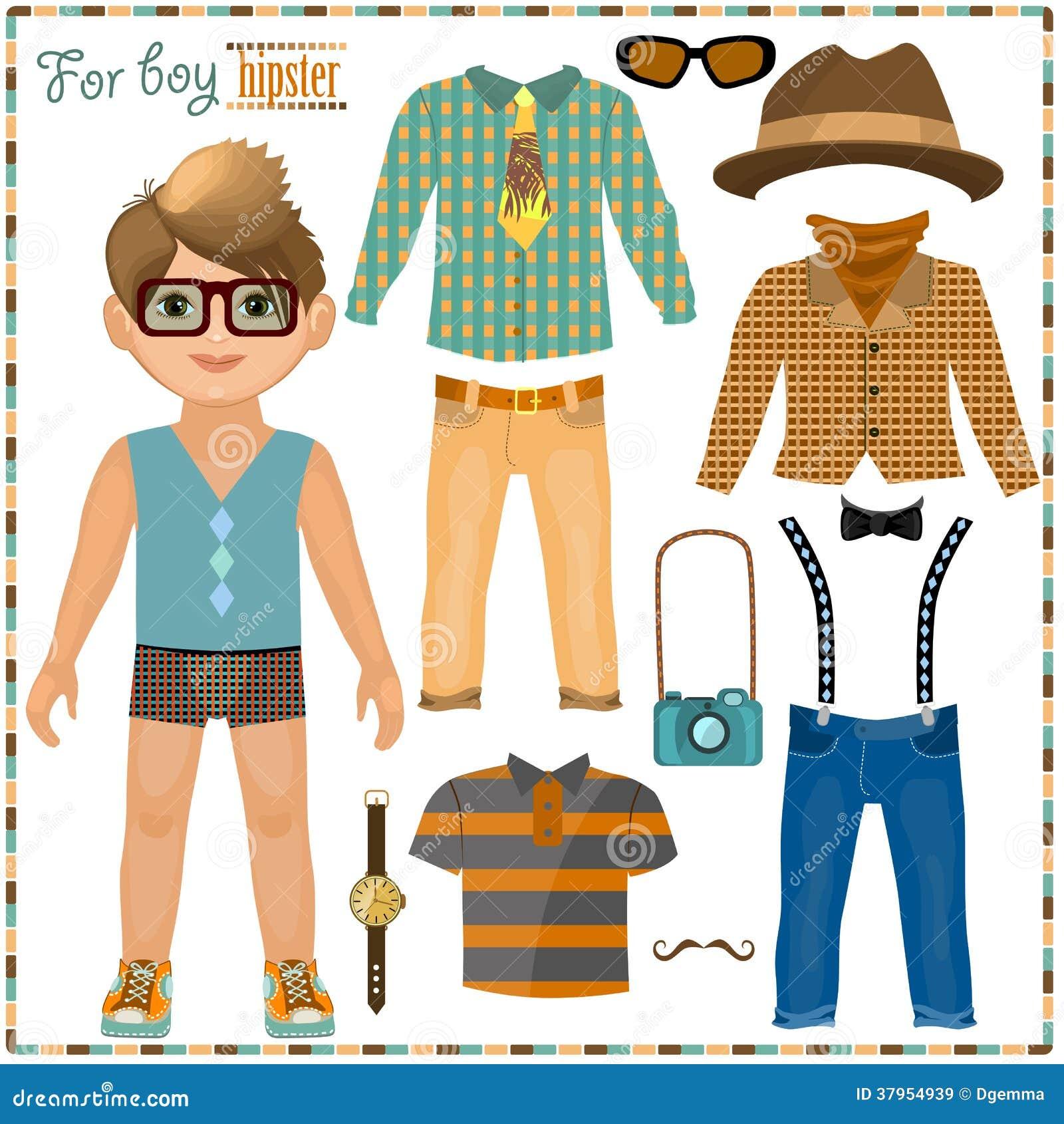 Pappers- docka med en uppsättning av kläder. Gullig hipsterpojke.