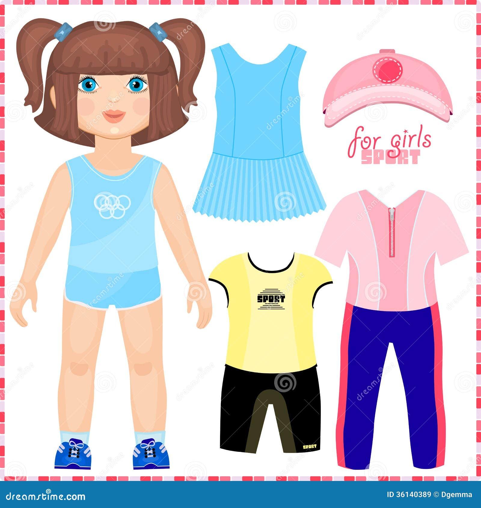 Pappers- docka med en uppsättning av sportkläder.
